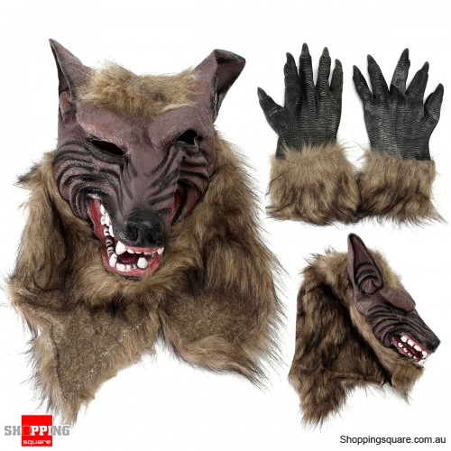 Scary Latex Rubber Wolf Werewolf Head Hair Face Mask & Gloves for Party Halloween Education Play
