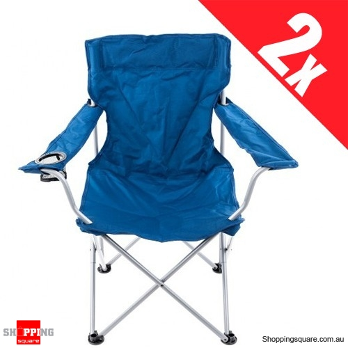 2 x Portable Folding Camping Chair Steel Frame 600D Polyester Turquoise