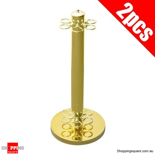 2 pcs Set 6 Pool Cues Rack Metal Billiards Floor Stand - Gold