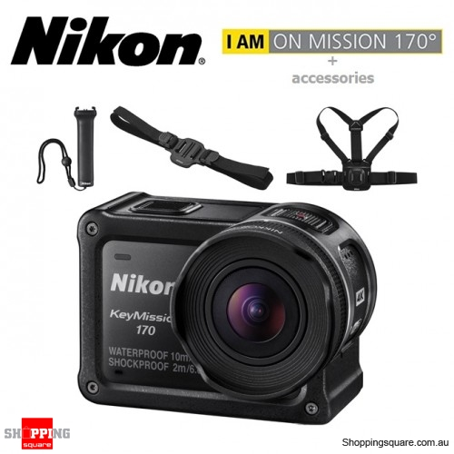 Nikon KeyMission 170 Action Camera Bundle (Helmet Mount + Chest Mount + Handy Grip)