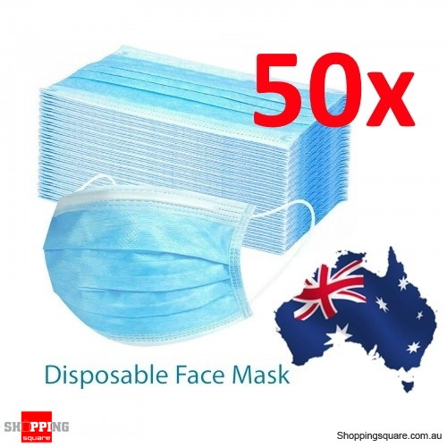 50pcs Disposable Face Masks Anti Dust 3 Layers Protective Filter