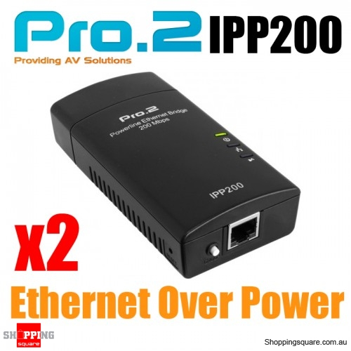 Pro2 iPP200 Internet Power Point Powerline Adapters - Ethernet Over Power Line, 200Mbps Twin Pack