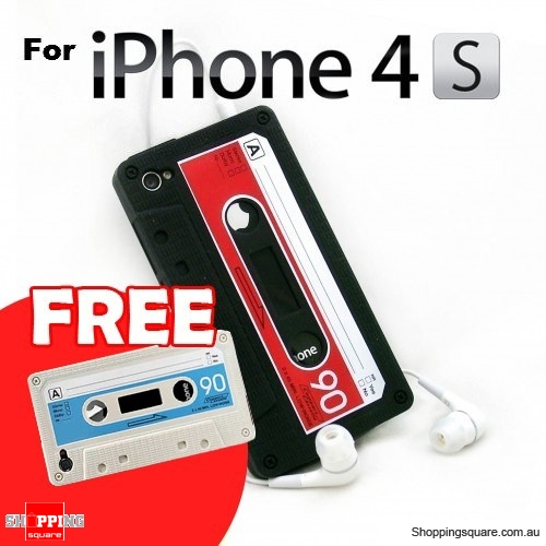 Cassette Tape Silicone Case for iPhone 4 4S Black With FREE White Case