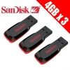 3x SanDisk Cruzer Blade 4GB USB Flash Drive