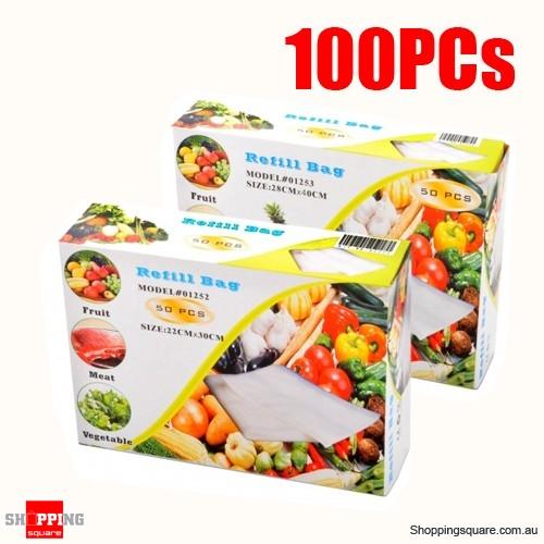 100pcs Vacuum Sealer Refill Big Bags (50pcs 28x40cm + 50pcs 22x30cm)