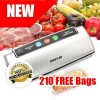 New Food Vacuum Sealer with 210pcs Sealer Bags, Silver