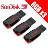 3x SanDisk Cruzer Blade 8GB USB Flash Drive Bundle