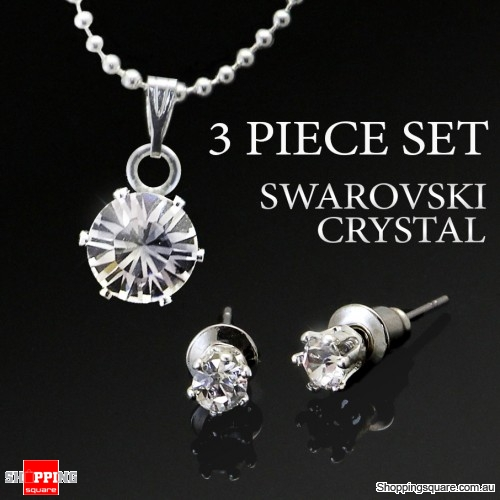 3pc Swarovski Crystal Sterling Silver Set - 8mm Crystal Necklace + 4mm Crystal Earring