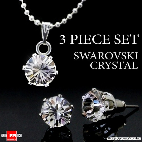 3pc Swarovski Element Crystal Sterling Silver Set