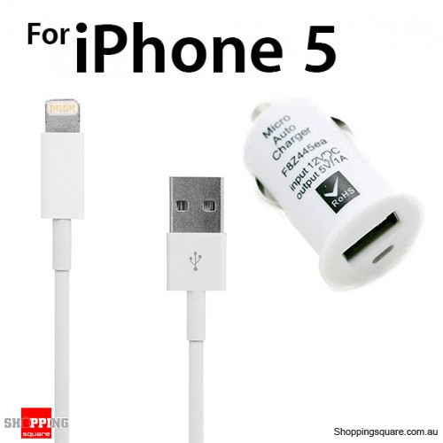 Car charger with 8 Pin USB Data Charger Cable for iPhone 5S 5C 5 iPod Touch Nano 7 iPad 4 Bundle