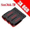3pcs x SanDisk Cruzer Blade 8GB USB FLASH DRIVE Bundle