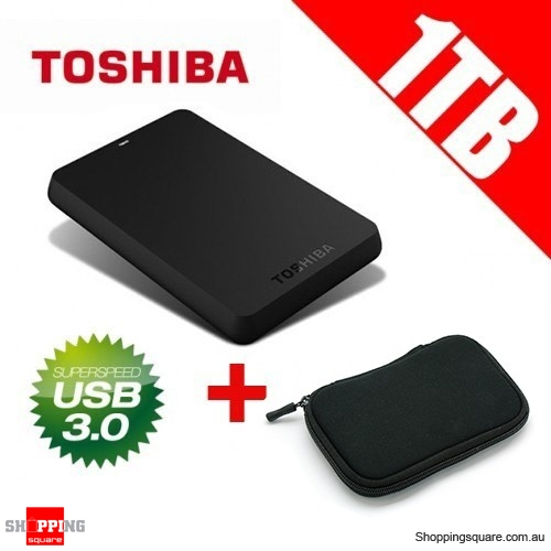 Toshiba 1TB Canvio USB 3.0 Portable Hard Drive with Case Bag Pouch