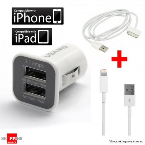 3.1Amp Dual Port USB Car Charger + 2x Data Sync Cable for iPhone 5S 5C 5 4 4s iPad 1 2 New iPad iPhone5
