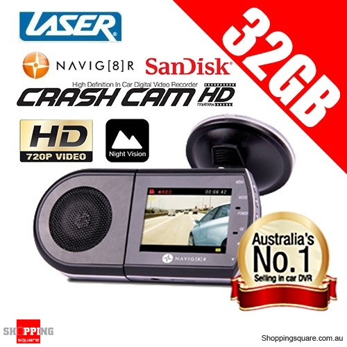 "Navig8r HD Car Crash Camera 720p 2.5"" LCD TFT with 32GB Sandisk microSDHC Flash Memory Card"