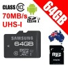 Samsung 64GB Pro MicroSDXC UHS-1 Card Class 10 70Mb/s Speed with SD Adaptor