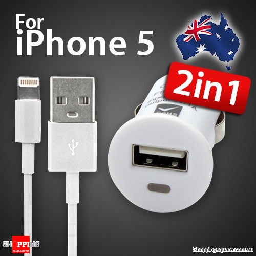 Micro USB Car Charger White Bundle iPhone 7,6,5 Lightning USB Cable