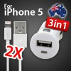 Micro USB Car Charger White Bundle 2x iPhone 5 USB Cable