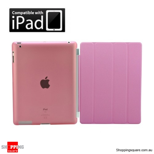 Apple New iPad 4,iPad 3 iPad 2 Smart Cover Skin with Back Case Pink Colour