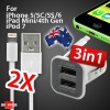 3 in 1 - 3.1Amp Dual Port USB Car Charger Bundle 2x 8Pin Lightning USB Data Charger Cable
