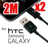 2x 2M Micro USB Data Charging Cable for Samsung Galaxy HTC Nokia Smart Phone Tablet