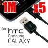 5x 1m USB to Micro USB Charging Data Cable Black for Galaxy, HTC , MP3, MP4