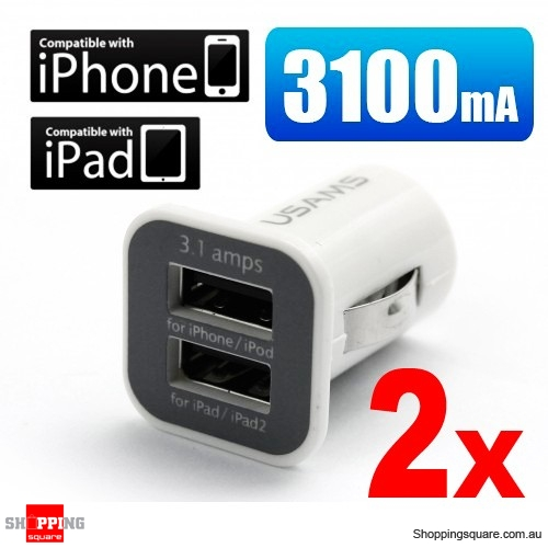 2x 3.1Amp Dual Port USB Car Charger for iPad, iPhone, Android Smart Phone and Tablet