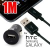 Micro USB Car Charger Black Bundle 1M USB to Micro USB Charging data Cable
