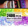 2400 X Rainbow Loom Rubber Bands Refill Two Tones 4 Colour Assortment Bundle