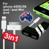 3 in 1 - 3.1A Dual USB Car Charger Adapter Cable for iPhone iPod iPad 2 3 4 4s 5 5s 5c Mini