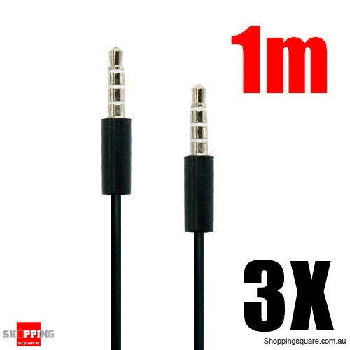 3x 1M 3.5mm Audio Cable for iPhone to Car Stereo Audio AUX - Silver Plated 3.5mm Jack Black