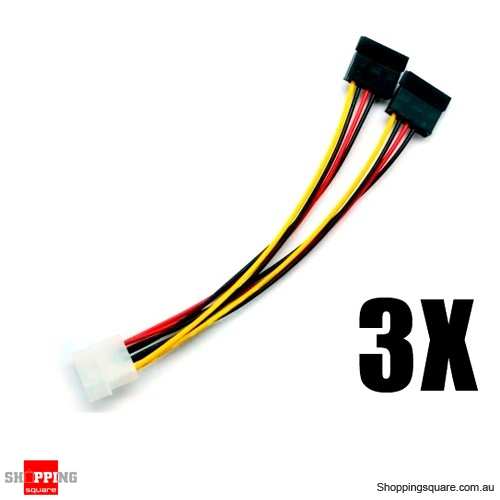 3x 4 Pin IDE Molex to 2 SATA Power Cable Splitter Adapter Bundle