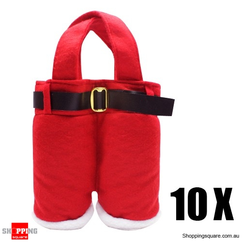 10 X Cute Christmas Santa Red Pant Gift Bag for Decoration Bundle
