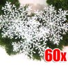 60 X Nice White Shining Snowflake 6cm Diameter for Christmas Decoration Bundle