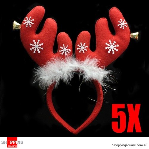 5 x Christmas Red Antlers Headband with Jingle Bells and Snowflakes Bundle