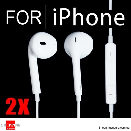 2 x Earphone Earpods Remote MIC For Apple IPHONE 5 4S 4 Ipod Touch New IPAD 3 4 Mini