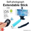 Monopod Extendable Selfie Stick with Bluetooth Remote Shutter For Camera, Smart Phone - Blue