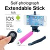 Monopod Extendable Selfie Stick with Bluetooth Remote Shutter For Camera, Smart Phone - Pink