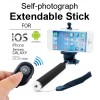 Monopod Extendable Selfie Stick with Bluetooth Remote Shutter For Camera, Smart Phone - Black