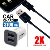 3in1 - 3.1Amp Dual Port USB Car Charger + 2X Micro USB Cable