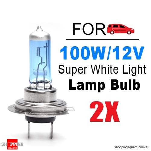 2x H7 Super White Headlight Xenon Halogen Globe Light Lamp Bulb 100W 12V