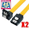 2 x SATA 3 III 3.0 Data Cable 6Gbps For HDD SSD with Angle and Lead Clip YELLOW