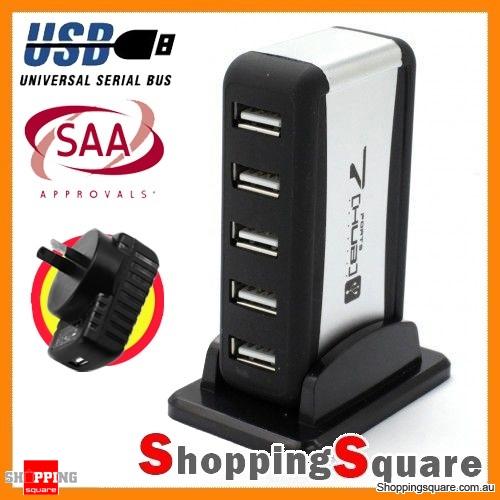 7 Port USB 2.0 High Speed HUB + SAA Certified AC Adapter