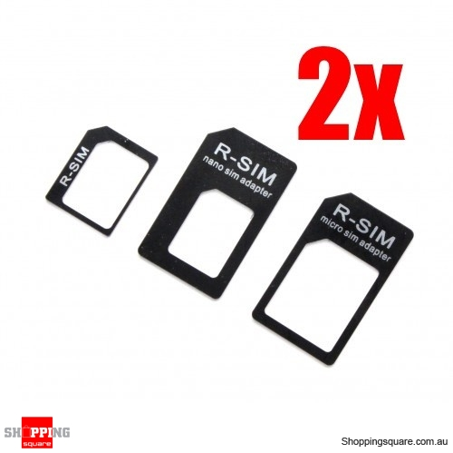 2x Nano and Micro Sim Card Adapter (3pcs Pack)