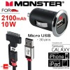 Monster Mobile® PowerPlug USB 600 Car Charger Bundle Micro USB Cable + 30pins Apple Adapter
