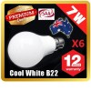 6 x Premium LOYAL™ Super Bright 7W B22 Cool White LED Light Bulb Lamp 6500KHz 700LM AU Stock