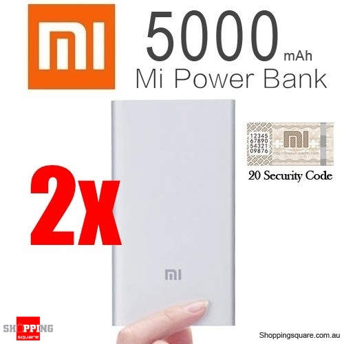 2x Genuine XIAOMI Ultra Slim 5000mAh Portable Power Bank Battery Charger for iPhone iPad Samsung