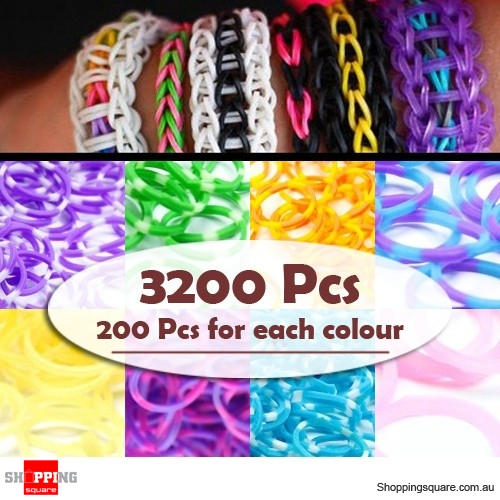 3200Pcs  Rainbow Loom Rubber Bands Refill Bundle
