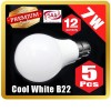 5 X Premium LOYAL™ Super Bright 7W B22 Cool White LED Light Bulb Lamp 6500KHz 700LM