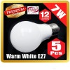 5X Premium LOYAL™ Super Bright 7W E27 Warm White LED Light Bulb Lamp 2700KHz 700LM