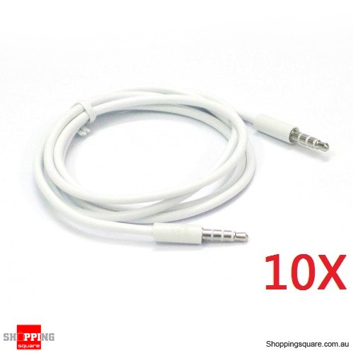 10X 1M 3.5mm Audio Cable for iPhone to Car Stereo Audio AUX - Silver Plated 3.5mm Jack White Colour